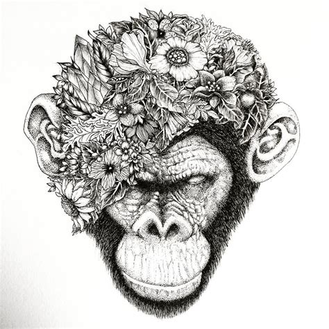 draw my tattoo my drawing botanical chimpanzee chimpanzee ape