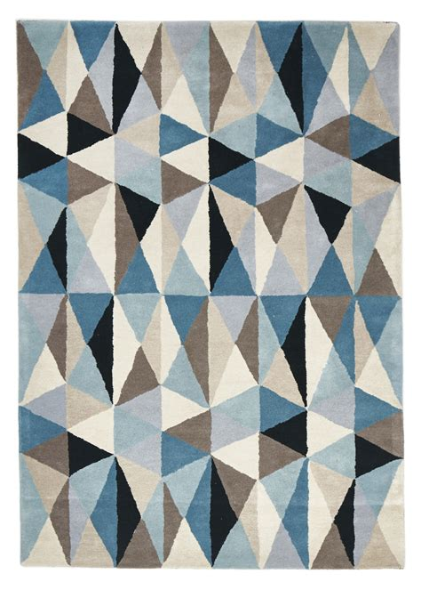 Geometric Rugs by Cologne Light Blue Grey Geometric Wool Rug
