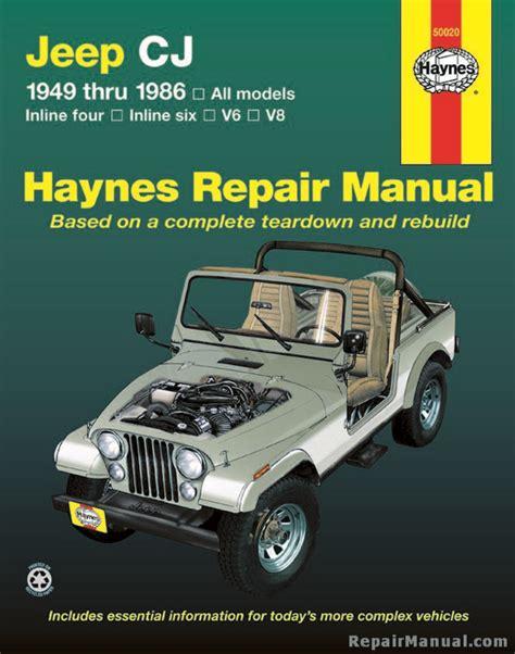 Manual Jeep Haynes Jeep Cj 1949 1986 Service Repair Manual