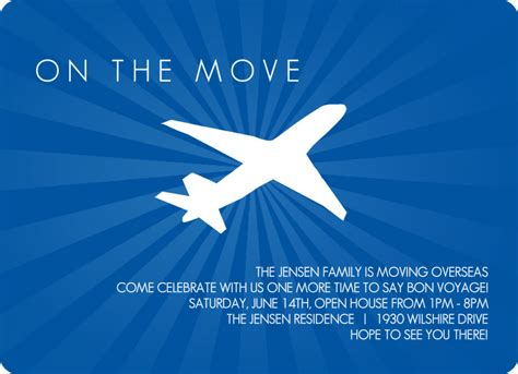 going away template farewell invitations seaside blue flying plane