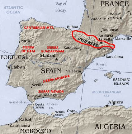 pyrenees mountains map the pyrenees mountains map and details