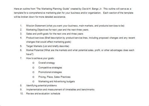 Marketing Plan Outline Template 13 Free Sle Exle Format Download Free Premium Comprehensive Marketing Strategy Template