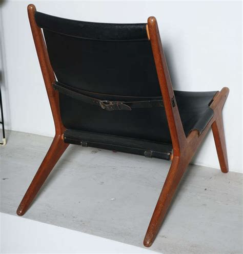Sling Back Lounge Chairs by Teak And Leather Sling Back Lounge Chair By Kristiansson