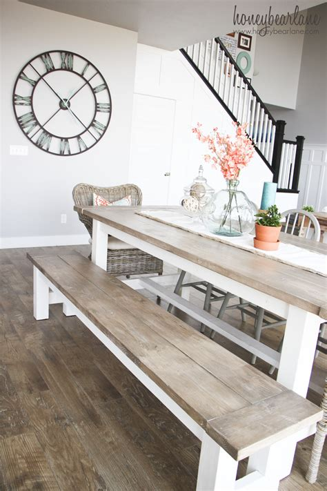 Diy Dining Room Table With Bench Diy Farmhouse Table And Bench Honeybear