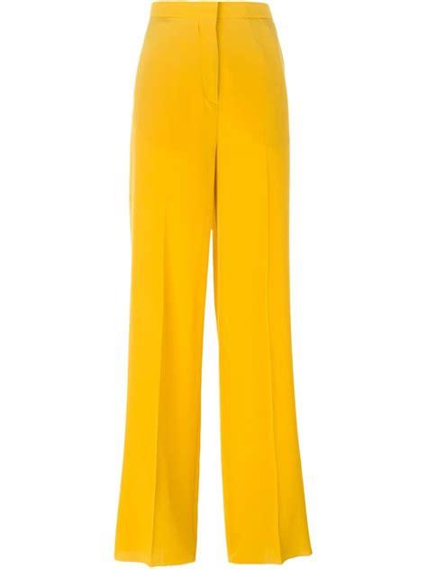 19213 Yellow Wide Leg Trousers lyst rochas wide leg trousers in yellow