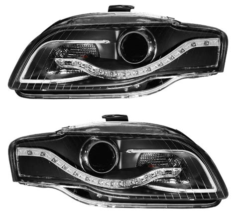 2005 audi s4 headlights audi a4 s4 b7 2005 2008 projector headlights black r8 led