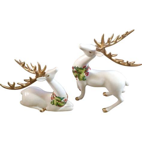 fitz floyd resting standing white christmas reindeer