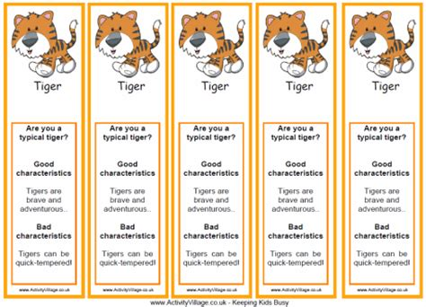 Tiger Characteristics Bookmarks