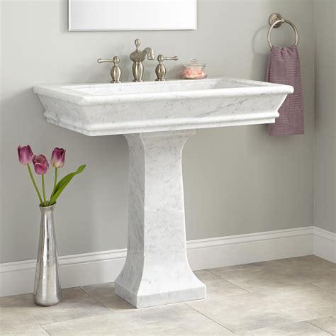 36 quot polished carrara marble pedestal sink bathroom sinks