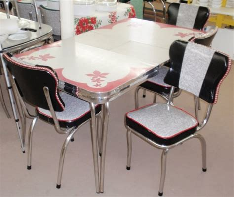 restored vintage red gray inlaid formica dinette table w