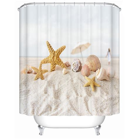 y shower curtain starfish on the beach shower curtains bathroom curtain