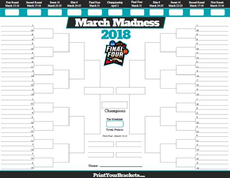 March Madness Bracket Template printable march madness bracket 2018 with team records