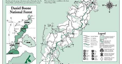 kentucky hiking map sheltowee trace trail map through daniel boone national