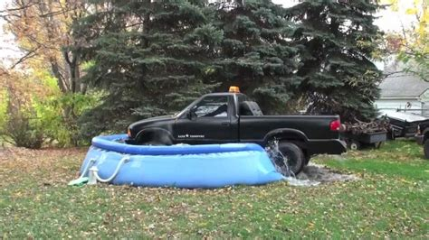 truck bed pool s 10 chevy truck drives into swimming pool youtube