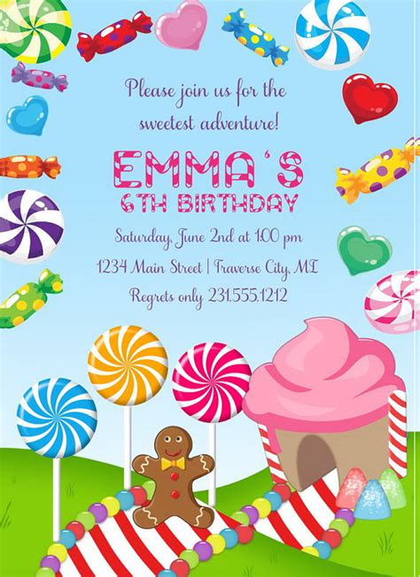 Candyland Cards Template by 13 Wonderful Candyland Invitation Templates Free