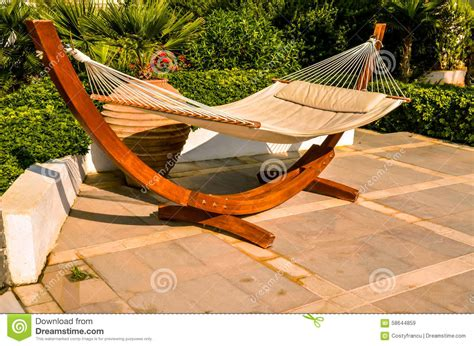 crete greece hammock at luxury resort stock