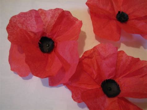 Paper Poppies - tissue paper poppies craft ideas