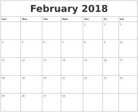 Calendar Thru 2018 February 2018 Calendar Month