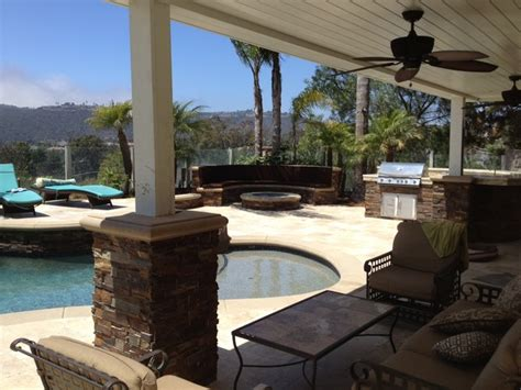 Backyard Remodel by Pool Spa Backyard Remodel Baja Shelf Paving Firepit Outdoor Kitchen Bbq Mediterranean
