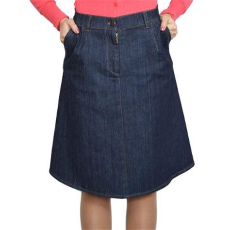 new casual knee length a line blue denim skirt f