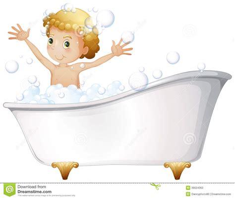 bathtub illustration a young boy taking a bath at the bathtub stock vector