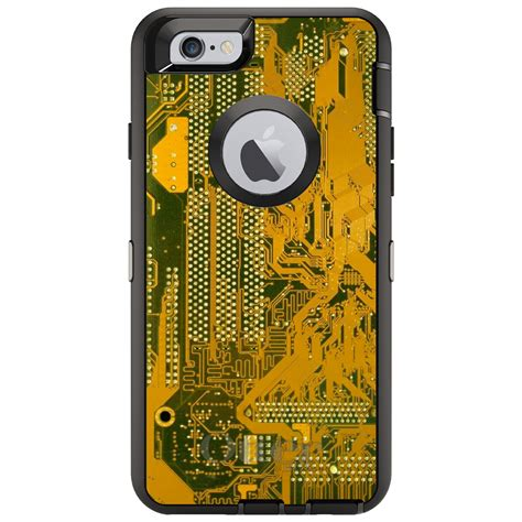 custom otterbox defender for iphone 6 6s 7 plus yellow circuit board