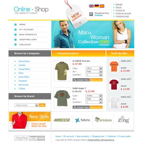 Online Shop Template Oscommerce Gratuit Beauxthemes Template Shop Free