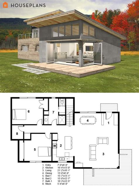 Modern Energy Efficient House Plans | small modern cabin house plan by freegreen energy