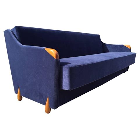 Blue Velvet Sleeper Sofa 1950s Blue Velvet Sleeper Sofa