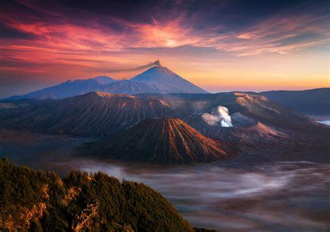 nature landscape mountain volcano indonesia sunrise