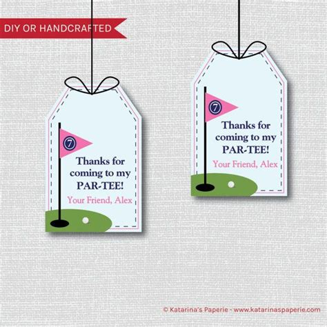 layout for birthday giveaways girl golf birthday favor thank you tags girl golf theme