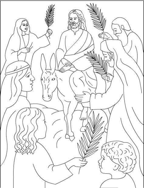 coloring page jesus rides into jerusalem palm sunday coloring pages
