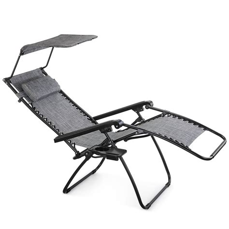 gravity lounge chair with canopy vonhaus textoline zero gravity chair canopy sun lounger