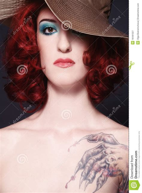 redhead tattoo with stock image image of