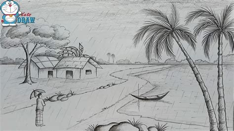 sketchbook how to draw scenery pencil sketch how to draw scenery of rainy