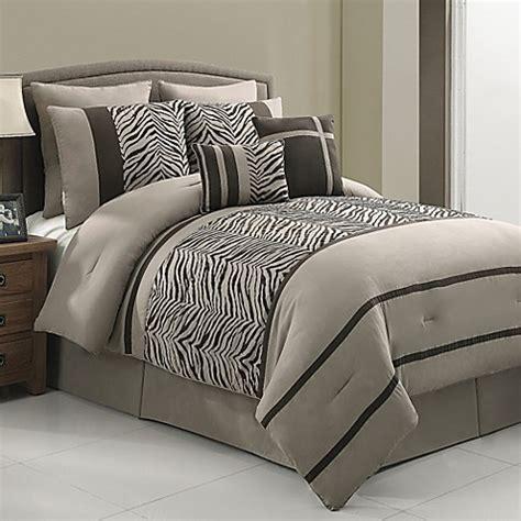 laken zebra 8 piece queen comforter set in brown bed