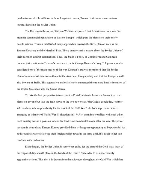 Cold War Essay Introduction origins of the cold war essay