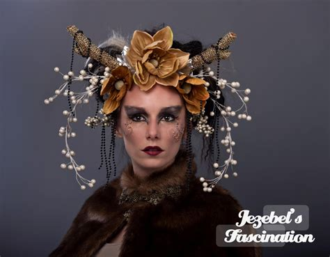 Forest Colorful Flower Crown deer antler goddess forest headdress gold pearl headpiece