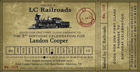 Vintage Train Ticket Party Invitation 4x8