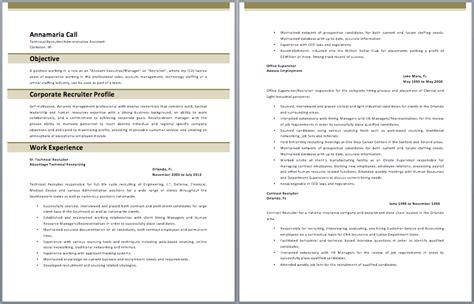corporate recruiter resume sle resumes
