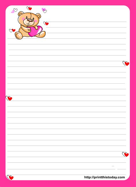 letter writing paper teddy writing paper for