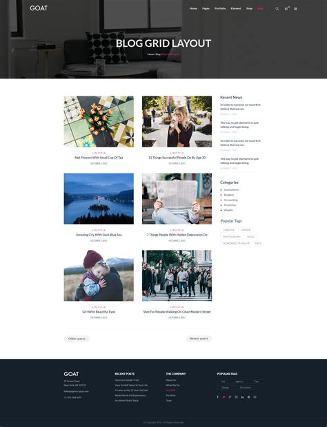 grid layout for blogger goat responsive multi purpose psd template by