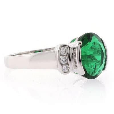 oval cut emerald gemstone silver ring gemross
