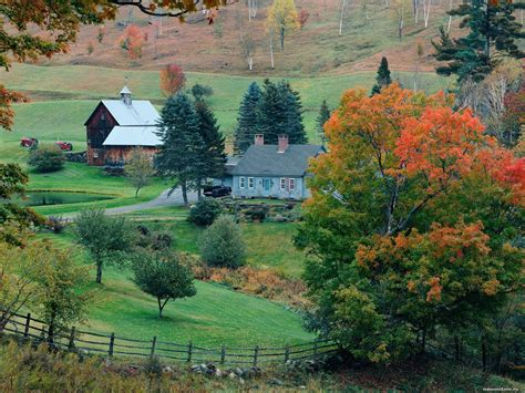 Fall Farmhouse Wallpaper Vermont Sleepy Hollow Farm In Autumn Cities And