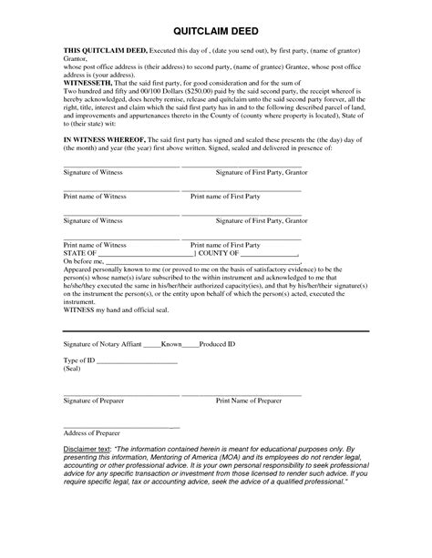printable quit claim deed form best photos of quick claim deed form free quick claim