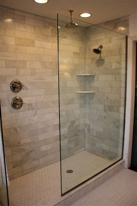 walk in bathroom shower ideas 30 ideas for using subway tile in a shower