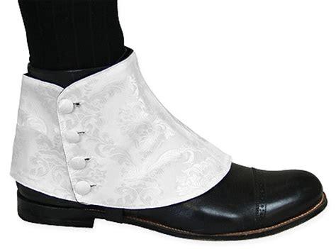 premium mens button spats white jacquard one pair