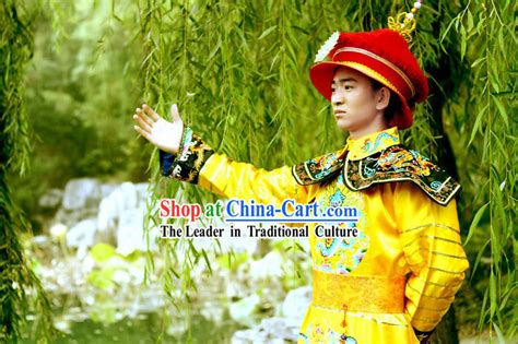 Dynasty Panci 7 Set Orange Color ancient qing dynasty emperor costumes complete set