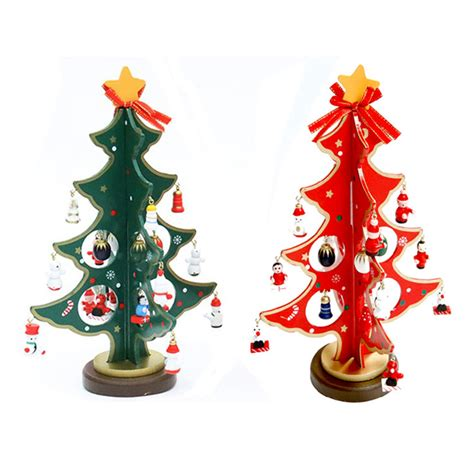2015 hot wooden tabletop christmas tree with miniature