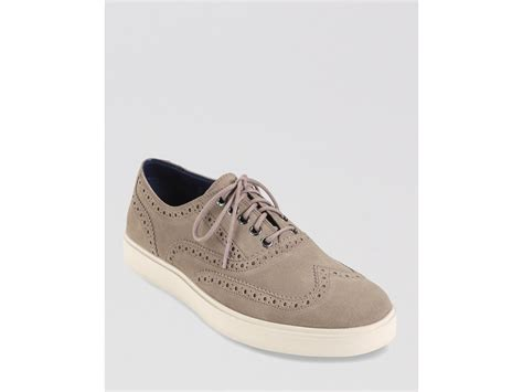 wingtip sneakers cole haan bergen suede wingtip sneakers in beige for
